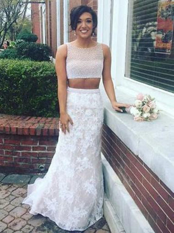 Two Pieces Prom Dresses Trumpet/Mermaid Scoop Beading Lace Long Prom Dress/Evening Dress AMY739