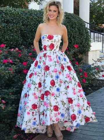 A-line Prom Dresses Strapless Floral Ankle-length Long Prom Dress/Evening Dress AMY740