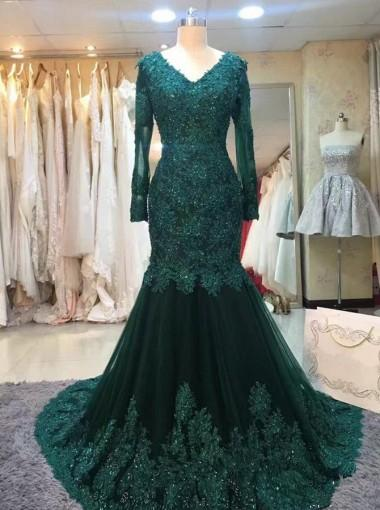 Long Sleeve Prom Dresses Trumpetmermaid V Neck Dark Green Long Prom
