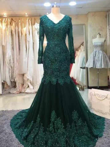 Long Sleeve Prom Dresses Trumpet/Mermaid V neck Dark Green Long Prom Dress/Evening Dress AMY741