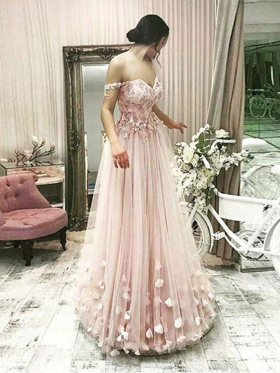 A-line Prom Dresses Off-the-shoulder Pink Beading Long Prom Dress/Evening Dress AMY759