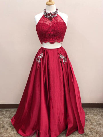 Two Pieces Prom Dresses A-line Burguny Beading Lace Long Prom Dress/Evening Dress AMY764