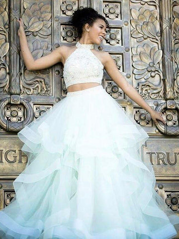 Two Pieces Prom Dress A-line High Neck Lace Elegant Long Prom Dresses/Evening Dress AMY765