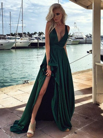 A-line Prom Dress Deep V Hunter Elegant Long Prom Dresses/Evening Dress AMY767