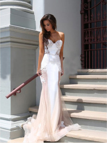 Trumpet/Mermaid Sweetheart Elegant Lace Modest Long Prom Dresses/Evening Dress AMY769