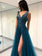 A-line Prom Dresses Deep V Blue Tulle Modest Long Prom Dress/Evening Dress AMY770