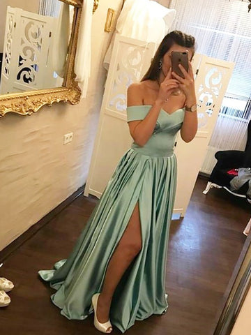Off-the-shoulder Prom Dresses Simple A-line Cheap Long Prom Dress/Evening Dress AMY773
