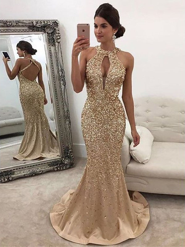 Trumpet Mermaid Prom Dresses Gold Scoop Sparkly Beading Long Prom Dress