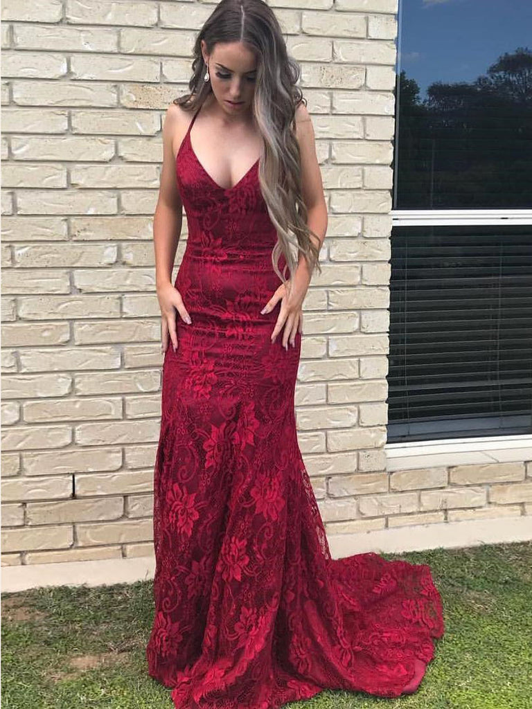 Trumpet/Mermaid Prom Dresses Burgundy Spaghetti Straps Lace Long Prom Dress/Evening Dress AMY776