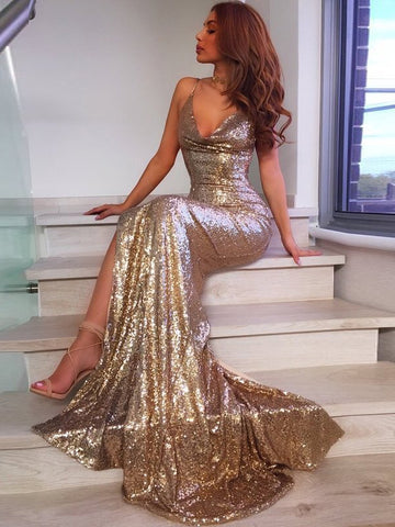 Trumpet/Mermaid Spaghetti Straps Sparkly Sequins Sexy Long Prom Dresses/Evening Dress AMY778