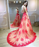 A-line Prom Dresses Red Deep V Lace Sweep/Brush Train Long Prom Dress/Evening Dress AMY783