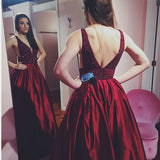 A-line Prom Dresses Burgundy Deep V Beading Modest Long Prom Dress/Evening Dress AMY786