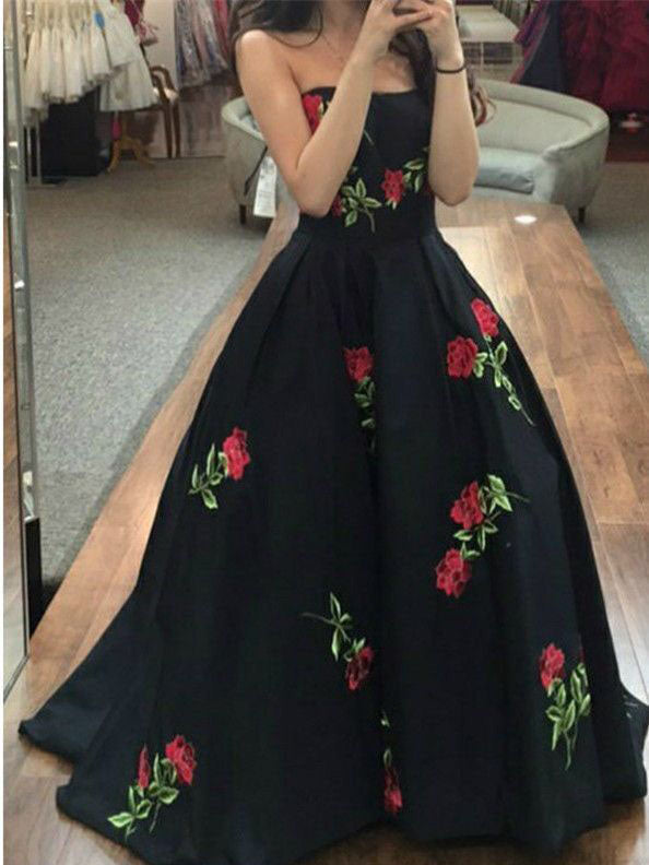 2018 Prom Dress Black Floral Strapless Tulle Modest Long Prom Dresses/Evening Dress AMY788