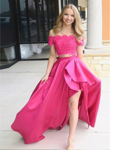 Two Pieces Prom Dress A-line Off-the-shoulder Lace Asymmetrical Long Prom Dresses/Evening Dress AMY793