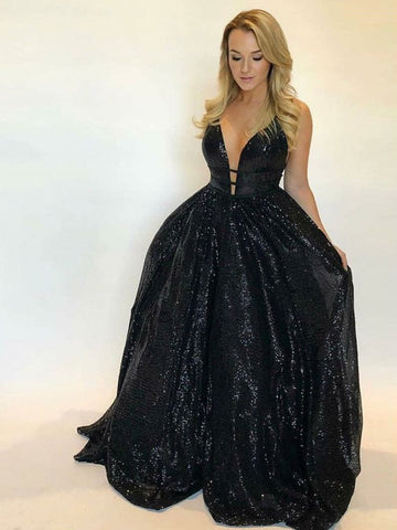 2018 Prom Dress Black Sparkly Straps Sequins Tulle Long Prom Dresses/Evening Dress AMY795