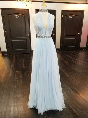 A-line Halter Prom Dress Light Sky Blue Modest Long Prom Dresses/Evening Dress AMY798