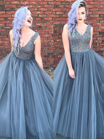 Silver Prom Dresses A-line V neck Rhinestone Modest Long Prom Dress/Evening Dress AMY800