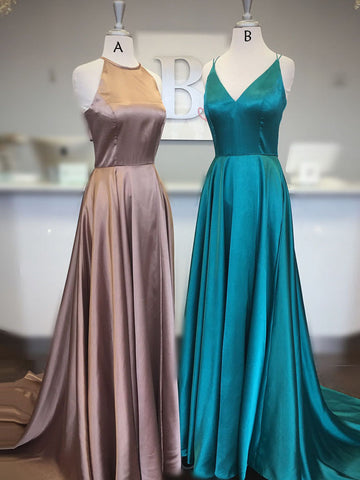 Simple Prom Dresses A-line Scoop Cheap Modest Long Prom Dress/Evening Dress AMY801