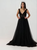 2018 Prom Dress A-line Burgundy Beaded V neck Tulle Long Prom Dresses/Evening Dress AMY802