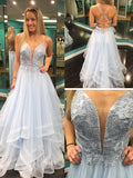A-line Spaghetti Straps Beading Lace Modest Long Prom Dresses/Evening Dress AMY803
