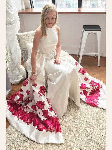 2018 Floral Prom Dress White A-line Spaghetti Straps Satin Long Prom Dresses/Evening Dress AMY810