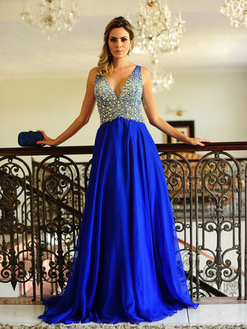 Royal Blue Prom Dress A-line V Neck Beading Tulle Long Prom Dresses/Evening Dress AMY814