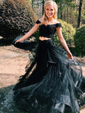 Two Pieces Prom Dress A-line Off-the-shoulder Black Elegant Lace Prom Dresses/Evening Dress AMY816
