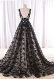 Black Prom Dress A-line Scoop Lace Elegant Long Prom Dresses/Evening Dress AMY818