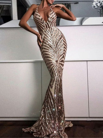 Trumpet/Mermaid Prom Dresses Spaghetti Straps Sparkly Rhinestone Long Prom Dress/Evening Dress AMY818
