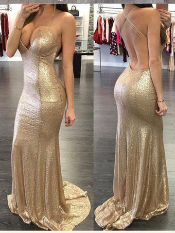 Mermaid Gold Prom Dress Sexy Spaghetti Straps Sparkly Long Prom Dresses/Evening Dress AMY820