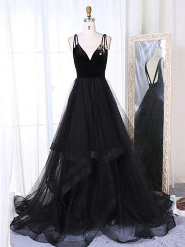 2018 Prom Dress Black A-line Straps Cheap Simple Tulle Long Prom Dresses/Evening Dress AMY821