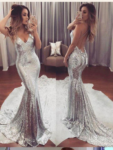 Sexy Backless Sparkly Spaghetti Straps Prom Dress Sequins Long Prom Dresses/Evening Dress AMY821