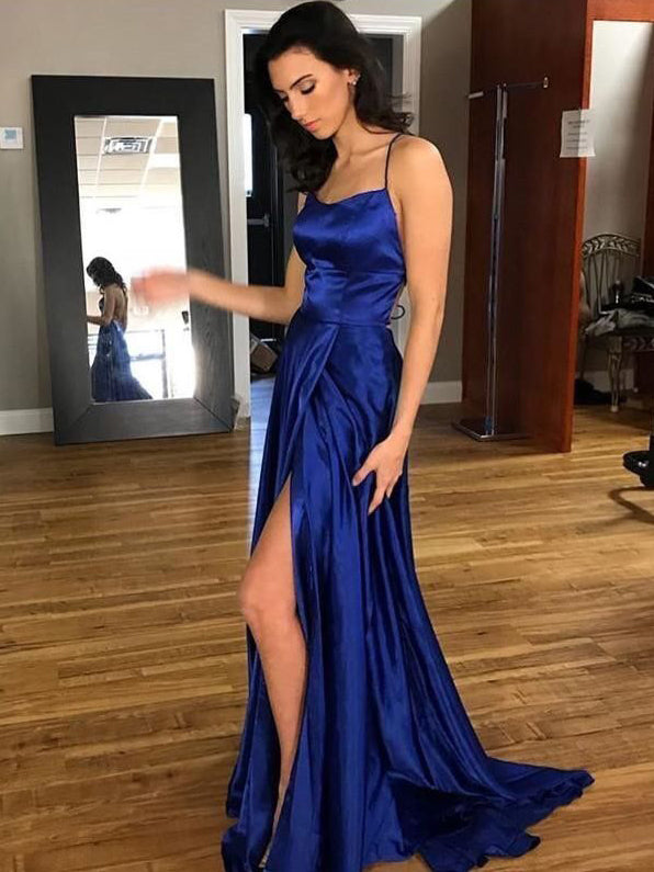 8394a5ee8374c Sexy Backless Spaghetti Straps Prom Dress Simple Long Prom Dresses|Amyprom  – AmyProm