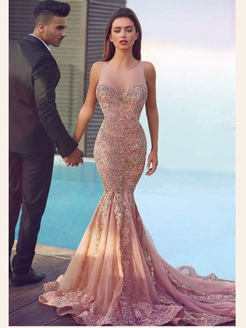 Trumpet/Mermaid Scoop Prom Dress Lace Beading Modest Long Prom Dresses/Evening Dress AMY823