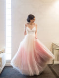Chic Ombre Prom Dresses Spaghetti Straps A-line Floor-length Long Prom Dress AMY829