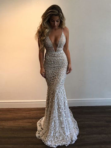Trumpet/Mermaid Spaghetti Straps Tulle Beading Lace Long Prom Dresses/Evening Dress AMY832