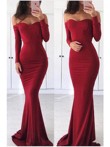 Mermaid Prom Dress Tight Off-the shoulder Burgundy Long Sleeve Long Prom Dresses/Evening Dress AMY834
