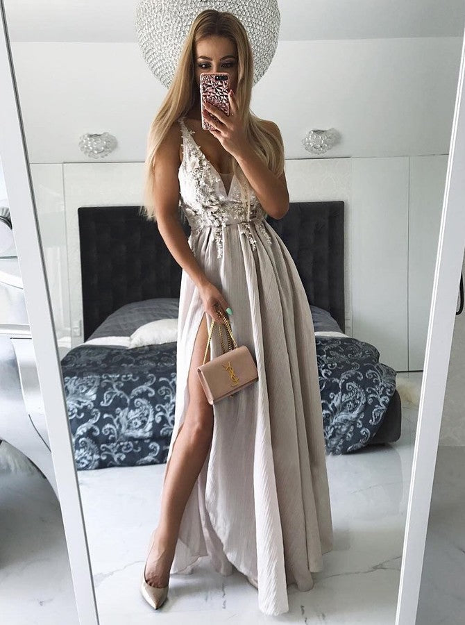 A-line Prom Dress Modest Straps Applique Long Prom Dresses/Evening Dress AMY835