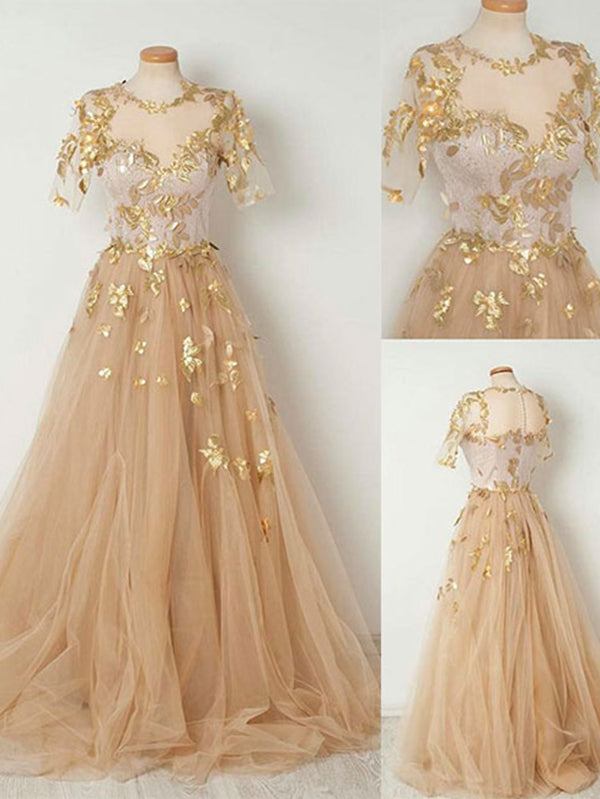 c8c68edc39b Sparkly Prom Dress A-line Scoop Short Sleeve Gold Long Prom Dresses/Evening  Dress