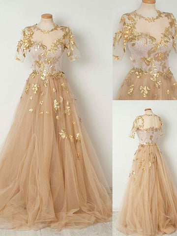 Sparkly Prom Dress A-line Scoop Short Sleeve Gold Long Prom Dresses/Evening Dress AMY837
