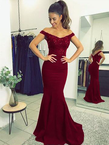 Trumpet/Mermaid Off-the-shoulder Prom Dress Burgundy Lace Long Prom Dresses/Evening Dress AMY839