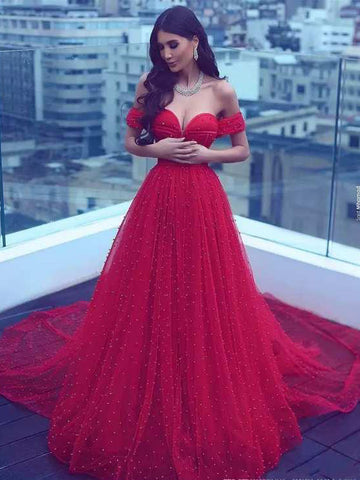 2018 Long Prom Dress A-line Off-the-shoulder Red Beading Prom Dresses/Evening Dress AMY841