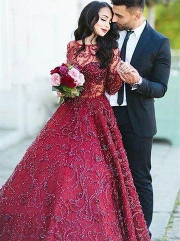 Burgundy Prom Dress A-line Scoop Long Sleeve Open Back Beading Long Prom Dresses/Evening Dress AMY846