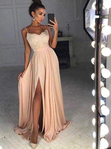 A-line Prom Dress Pink Spaghetti Straps Lace Long Prom Dresses/Evening Dress AMY853