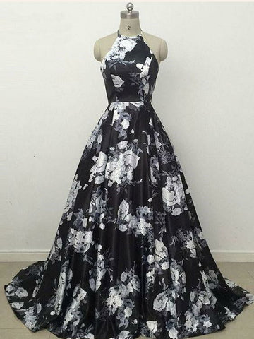 Spaghetti Straps Floral Prom Dress Black A-line Long Prom Dresses/Evening Dress AMY859