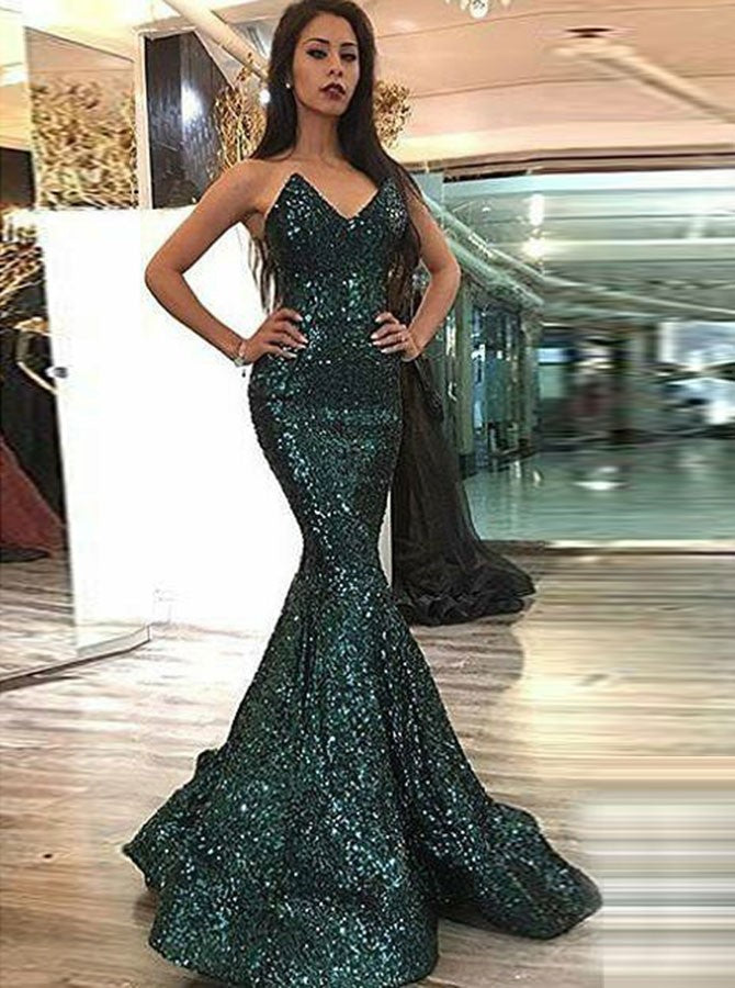 Dark Green V Neck Long Sleeves gorgeous Prom Dresses Sexy ...