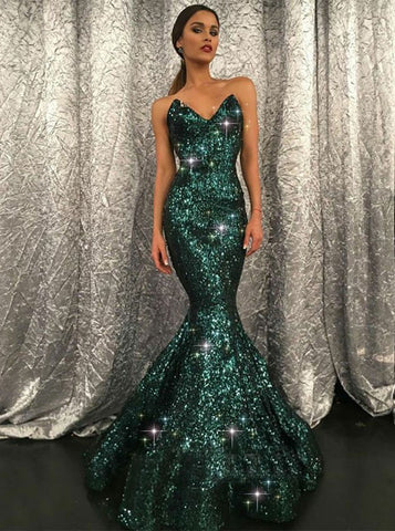 Dark Green Prom Dress Mermaid Sparkly Modest Long Prom Dresses/Evening Dress AMY861