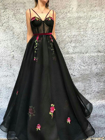 Black Floral Prom Dress A-line V neck Modset Long Prom Dresses/Evening Dress AMY865