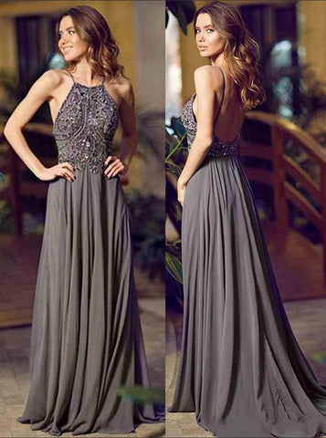 Silver Spaghetti Straps Prom Dress Aline Beaded Modset Long Prom Dresses/Evening Dress AMY871