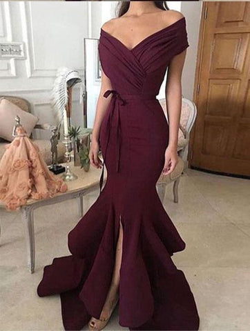 Burgundy Prom Dress Trumpet/Mermaid Off-the-shoulder Satin Prom Dresses/Evening Dress AMY883